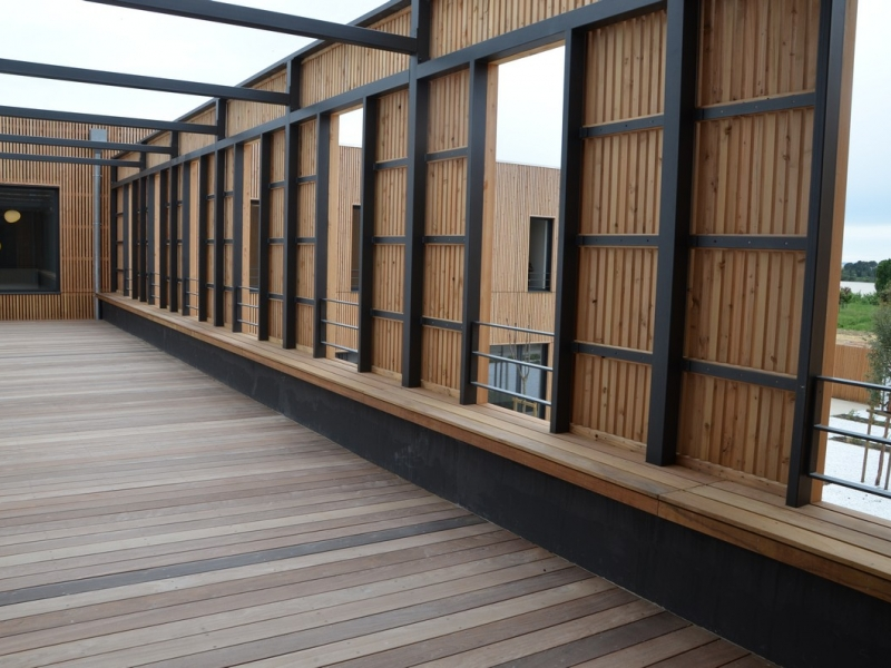 Wooden patio and visual barrier